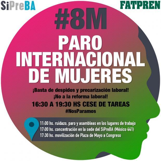 El SiPreBA convoca a participar este #8M del Paro Internacional de Mujeres