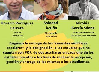 El Frente de Bachilleratos Populares de la CTAA Capital volvió a exigir la entrega de canastas alimentarias