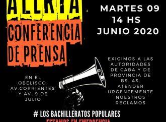 El Frente de Bachilleratos Populares dará una conferencia de prensa