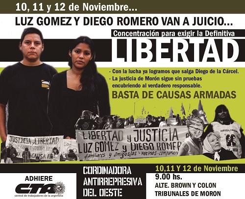 Comienza el juicio en la causa armada contra Luz y Diego