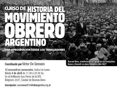 Curso de Historia del Movimiento Obrero Argentino